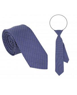 Krawat granatowy w kropki  tata i syn
