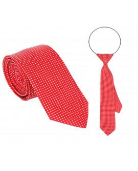 Krawat czerwony w białe kwadraciki tata i syn